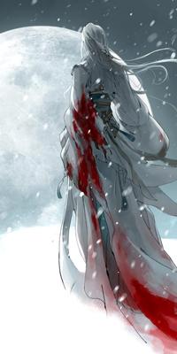 Аватар вконтакте Девушка в окровавленной одежде, стоя на снегу, смотрит на большую луну