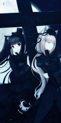 Аватар вконтакте Две неко-девушки стоят у креста на фоне луны, by Kitten and Chloe