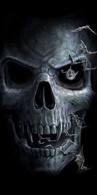 Аватар вконтакте Летучие мыши на фоне черепа с клыками