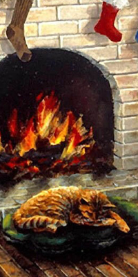 Аватар вконтакте Кот спит у камина на подушке в Рождество