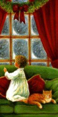 Аватар вконтакте Мальчик и кот на диване смотрят в окно и ждут Рождество