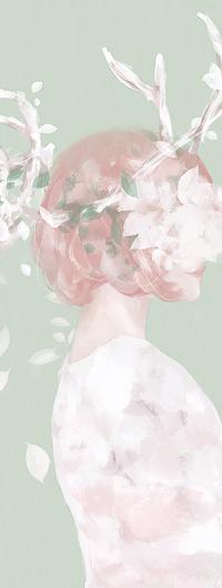 Аватар вконтакте Девушка с оленьими рожками и цветами, by pastellish00