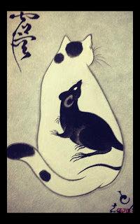 Аватар вконтакте Кошка, на которой сидит крыса, by emynekomimi