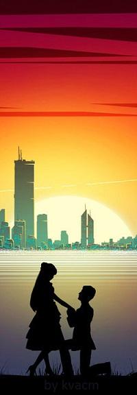 Аватар вконтакте Парень стоит на колене перед девушкой на фоне города на закате, by kvacm