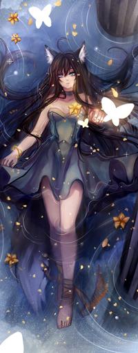 Аватар вконтакте Темноволосая девушка с кошачьими ушками лежит в воде, by Devil-Nutto