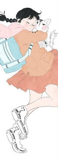 Аватар вконтакте Девочка обнимает недовольную кошку, by Yuki Kawatsu