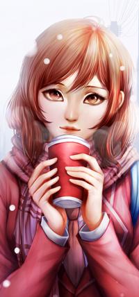Аватар вконтакте Рыжеволосая девушка с стаканчиком под снегопадом, by MikiTakamoto