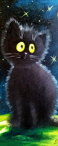 Аватар вконтакте Черная кошка на фоне ночного неба