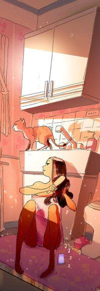 Аватар вконтакте Девочка сидит на полу кухни, а на столе стоит кошка