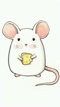 Аватар вконтакте Белый мышонок держит в лапках кусочек сыра