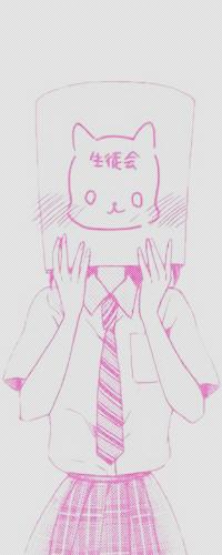 Аватар вконтакте Смущенная школьница надела на голову пакет с нарисованной кошачьей мордочкой, манга в розовых тонах