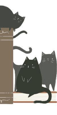 Аватар вконтакте Три нарисованных черных кота сидят на книгах, by Kelsey King