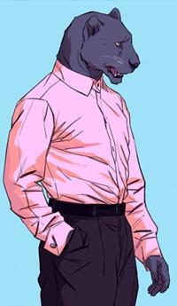 Аватар вконтакте Пантера в розовой рубашке и брюках, by Kim Nguyen