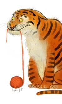 Аватар вконтакте Тигр играет с клубком ниток, by Wiebke Rauers