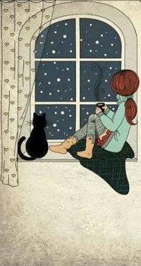 Аватар вконтакте Девочка с кошкой смотрят в окно