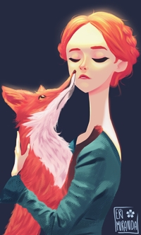 Аватар вконтакте Рыжая девушка обнимает лису, by Eri Miranda
