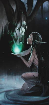 Аватар вконтакте Девушка-эльф показывает зеленую субстанцию мифическому существу, by Nakanoart
