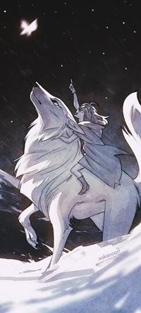 Аватар вконтакте Девушка верхом на большом волке указывает пальцем на светящуюся бабочку, by Nakanoart