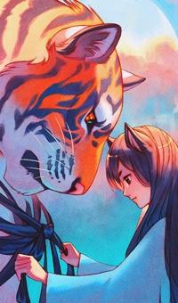 Аватар вконтакте Девушка с ушками повязывает ленту на шею большому тигру, by Nakanoart
