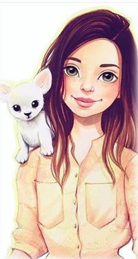 Аватар вконтакте Девушка с белой собачкой на плече
