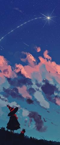 Аватар вконтакте Ведьмочка с черным котом смотрят на падающую звезду, by 9jedit