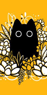 Аватар вконтакте Черный кот в белых цветах на желтом фоне, by Miski