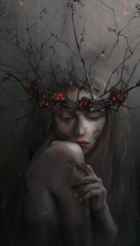 Аватар вконтакте Девушка в венке с розами и ветками, by Midfinger