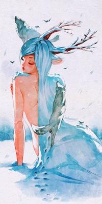 Аватар вконтакте Рогатая девушка с волосами из снега, по которым бродят волки, by Nakanoart