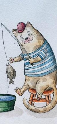 Аватар вконтакте Кот ловит удочкой рыбу в тазике, художница Таня Самошкина