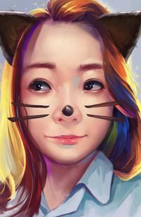 Аватар вконтакте Рыжеволосая девушка с рисованными кошачьими ушками и усиками, by Craft-1211