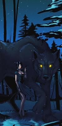 Аватар вконтакте Девушка под защитой большого волка с горящими глазами, by azraelengel