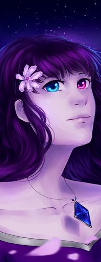 Аватар вконтакте Длинноволосая девушка с цветком в волосах и разноцветными глазами, by AmaranthicalRose