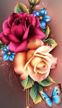 Аватар вконтакте Розы, незабудки и бабочка, художница Barnali Bagchi