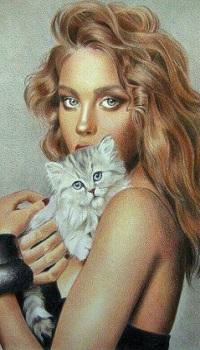 Аватар вконтакте Девушка держит на руках котенка, by Natalya Osadcha