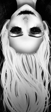 Аватар вконтакте Черно-белый рисунок девушки с черными глазами и ртом, by Gemityy