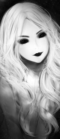 Аватар вконтакте Черно-белый рисунок девушки с черными глазами и губами, by Gemityy