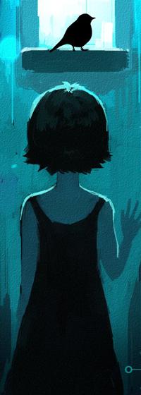 Аватар вконтакте Темноволосая девушка в черном платье смотрит на птицу у окна, by o-Bleu-o