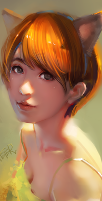 Аватар вконтакте Рыжеволосая девушка с звериными ушками, by superschool48