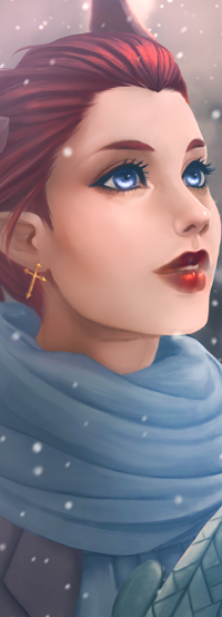 Аватар вконтакте Рыжеволосая и голубоглазая девушка под снегопадом, by Flesh-Odium