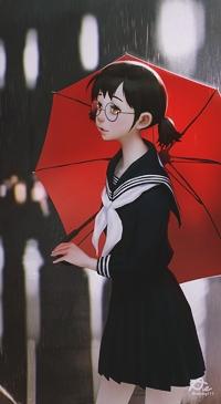 Аватар вконтакте Девушка с красным зонтиком под дождем, by Aekkarat Sumatchaya