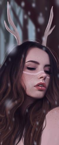 Аватар вконтакте Длинноволосая девушка с закрытыми глазами и оленьими рожками под снегопадом, by Juditarazo