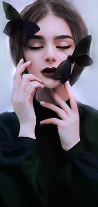 Аватар вконтакте Темноволосая девушка с черными бабочками на лице, by luftwave