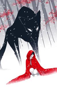 Аватар вконтакте Парень в красном плаще и огромный черный волк в зимнем лесу