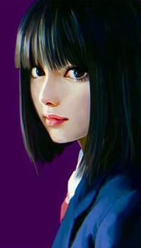 Аватар вконтакте Темноволосая девушка-азиатка на сиреневом фоне