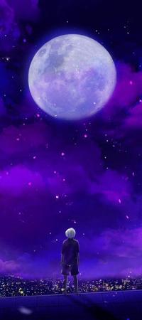 Аватар вконтакте Ken Kaneki / Кен Канеки из аниме Tokyo Ghoul / Токийский Гуль смотрит на луну, стоя на крыше дома
