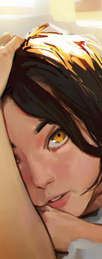 Аватар вконтакте Темноволосая девушка с желтыми глазами, by sinix