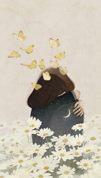 Аватар вконтакте Девушка, на одежде которой звездное небо, обнимает девушку, на одежде которой полумесяц