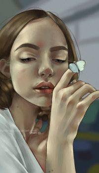 Аватар вконтакте Девушка с бабочкой на пальце руки
