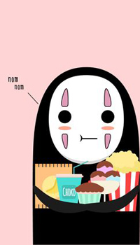 Аватар вконтакте Безликий / No Face из аниме Sen to Chihiro no kamikakushi / Унесенные призраками с кучей вкусняшек (nom nom)