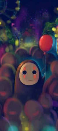 Аватар вконтакте Безликий / No Face из аниме Sen to Chihiro no kamikakushi / Унесенные призраками с красным шариком среди толпы